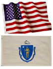 Massachusetts State and American Flag Combo, Made In USA, All Sizes, You Pick