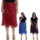 New Womens Skirts Plus Size Ladies Floral Lace Sequin Elastic Fashion Sale Knee