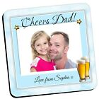 Personalised Photo Coasters ~ DAD Birthday Christmas Fathers Day Drinks Mat N7