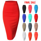 [FINAL SALE]Doublju Women's Scuba Slim Fit Stretchy Pencil Midi Skirt