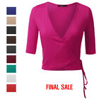 ti nspire cx for sale - [FINAL SALE]Womens 3/4 Sleeve Surplice Wrap Crop Top With Self-Tie Front
