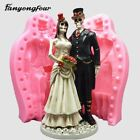 3D skull groom bride cake mold silicone mold chocolate gypsum candle soap candy