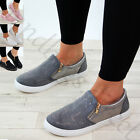 New Womens Casual Sneakers Diamante Slip On Flat Trainers Zip Pumps Shoes Sizes