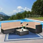Outdoor Wicker Sofa Set Patio Rattan Sectional Furniture Garden Deck Couch Brown
