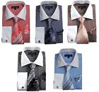 Men's Dress Shirt with Tie  Handkerchief, French Cuff Pin Striped Design New