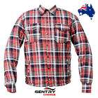 Men Motorcycle Bikers Riders Cotton Flannel Red & Black Shirt Full Kevlar Lined