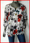 New Ladies White Red Floral Flower Top Blouse Sizes 8 10 12 14 16 18