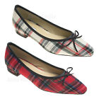 AnnaKastle Womens Pointy Toe Plaid Ballet Flat Loafer with Bow