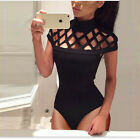 UK New Womens Sexy Ladies Mesh Bodysuit Fashion Jumpsuit Fit Leotard Vest Tops