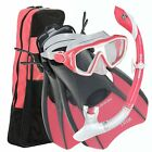 US Divers Women's Diva LX-Admiral Mask-Island Dry Snorkel-Trek Fins-Gear Bag Set