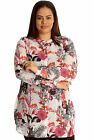 New Womens Shirt Plus Size Ladies Butterfly Floral Print Top Chiffon Collared
