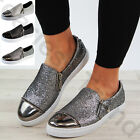 New Womens Glitter Pumps Flat Zip Trainers Casual Sneakers Ladies Shoes Sizes