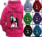 PERSONALISED HORSE RIDING HOODIE Adult's PIEBALD GYPSY COB VANNER HEAVY HORSE
