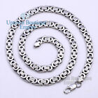 "18""-36"" Silver Stainless Steel Byzantine Box Chain Necklace For Men's 2"