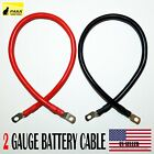 """2 AWG Gauge 5/16"""" Lug Battery Cable Inverter Cables Solar, RV, Car,Golf"""
