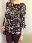 Frill Flute Bell Sleeve Top  Blouse Size 8-16 Animal print