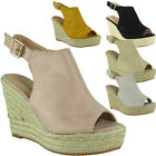 Womens Ladies Espadrilles Slingback Peeptoe Platform Shoes Wedge Sandals Size