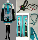 Vocaloid Hatsune Miku Cosplay Costume full set + Headphone + wig / wigs satin