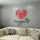 Diy 3d Mirror Love Decor Quote Flower Wall Stickers Decal Home Art Decor Usa