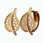 Yellow Gold Filled Crystal Hoops Earrings 093CC