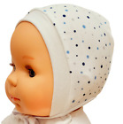 *NEWBORN - 12 MONTHS* WHITE BABY HATS BONNETS  WITH LACES / TIED UP  100%COTTON