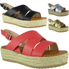 Womens Ladies Hessian Strappy Buckle Slingback Platform Shoes Wedge Sandals Size