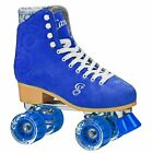 Ladies Blue Suede Candi Girls Carlin High Top Outdoor Quad Roller Skates