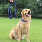 XLarge Heavy Duty Dog Leash Spring Tension Nylon Rope Collar Set Dog Neck 16-21