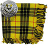 More images of Scottish Kilt Fly Plaid McLeod of Lewis Tartan 48 x 48 Thistle Brooch Antique
