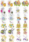 24 Mixed Easter Bunny Rabbit Large Sticky White Paper Stickers Labels NEW