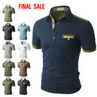 [FINAL SALE]Doublju Mens Short Sleeves Two Tone Polo Shirts w/ Pocket Point