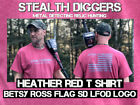 Stealth Diggers Heather red metal detecting relic hunting betsy ross t shirt