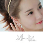 Elegant Origami Crane Stud Earrings Hollowed Ear Studs Chic Birds Earrings 2P3