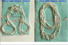 """925 Sterling Solid Silver 10pcs 1mm & 5pcs 2mm Snake Chain Necklace 16-24"""""""