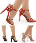 New Women's Studded Cross Strap Peep Toe Stiletto Sandal Ladies High Heel Shoes