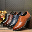 Mens Formal Dress Leather Shoes Oxfords Business Lace up Brogue Wedding Pointy