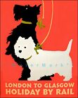 London To Glasgow By Rail Scottie Dogs Vintage Poster Print Retro Style Dog Art