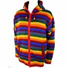 RAINBOW WOOL KNIT HOODIE JACKET CARDIGAN HIPPIE FESTIVAL JUMPER FLEECE LINED