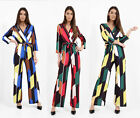 New Women Ladies Square Geometric Print Toe Waist Flare Wrap All in One Jumpsuit