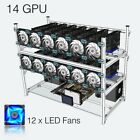 Open Air Mining Rig Stackable Frame 14 GPU Case With 12 LED Fans For ETH Z Cash