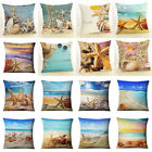 Shell & Starfish Cotton Linen Pillow Case Waist Cushion Cover Home Decor Fashion image