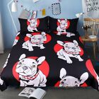 Bulldog Bedding Set Black Red Quilt Cover With Pillowcases Cartoon Pug For Kids
