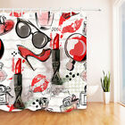 "Bathroom Shower Curtains 12 Hooks Set 72x72"" Fabric Home Decor Mat Fashion Red"