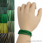 Green Leather Cord Wrap Bracelet Custom Length to 72 inch. Handmade USA necklace