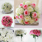18 Heads Silk Rose Artificial Flowers Fake Bouquet Buch Wedding Home Party Decor