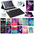 Universal Leather Case Cover  For iPad Mini Air Pro 2 3 4 5 + Bluetooth Keyboard