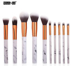 High Quality MAANGE Pro 10Pcs Marble Style Makeup Eyeshadow Brush Set Kit Case