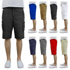 Mens Cotton Twill Cargo Shorts With Belt Flat Front Pockets...