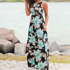 Womens Floral Long Maxi Dress Sleeveless  Evening Party Summer Beach Sundress US