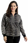 New Womens Plus Size Bomber Jacket Ladies Leopard Animal Print Ribbed Varsity